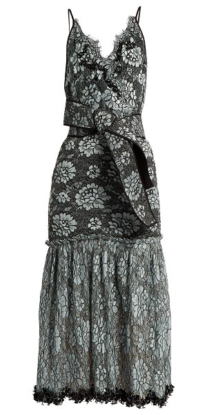 Johanna Ortiz bead embellished lace cotton blend faille dress in black multi