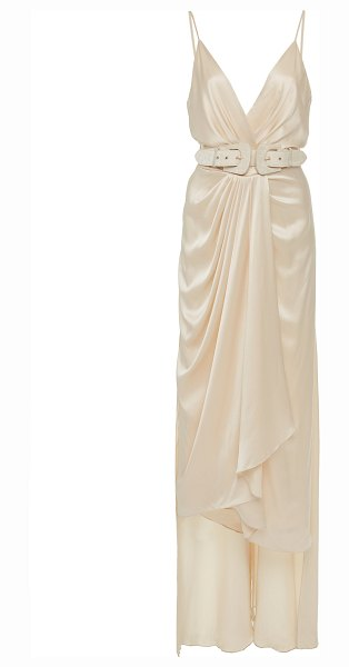 Johanna Ortiz exclusive let's meet at the cabaret belted silk gown in white