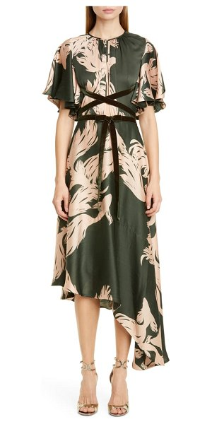 Johanna Ortiz fish print asymmetrical georgette midi dress in military green/ soft nude