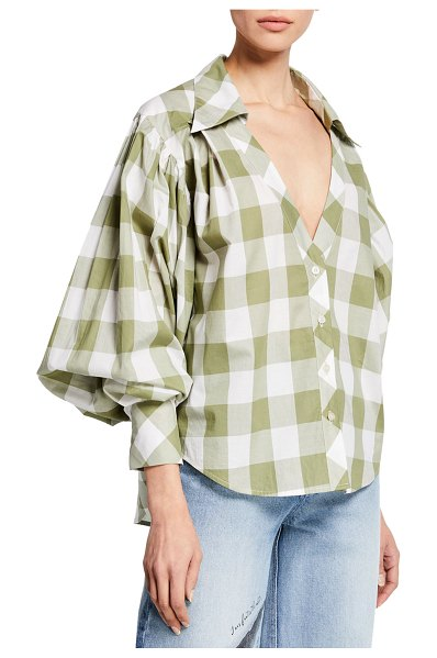 Johanna Ortiz French Inhale Blouson Sleeve Plaid Button-Front Top in green