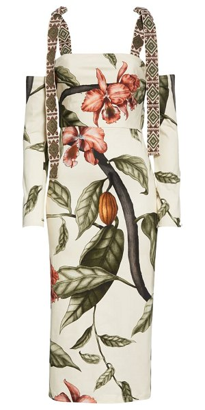 Johanna Ortiz jungle print stretch organic cotton dress with removable sleeves & straps in fair green