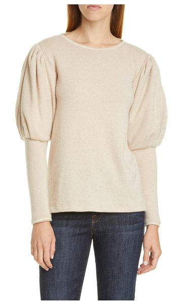 Johanna Ortiz puff sleeve cashmere sweater in ecru