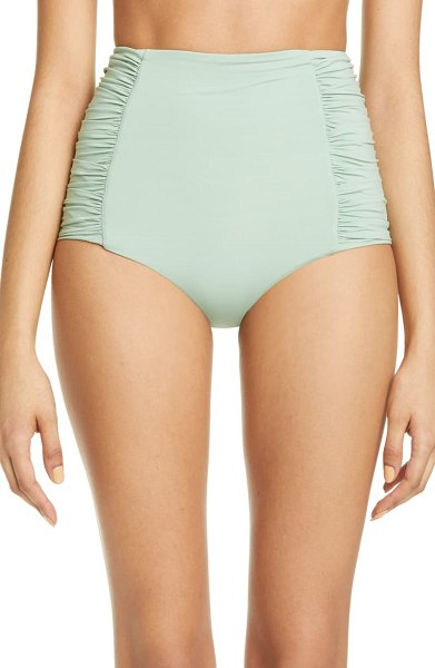 Johanna Ortiz ruched high waist bikini bottoms in mint