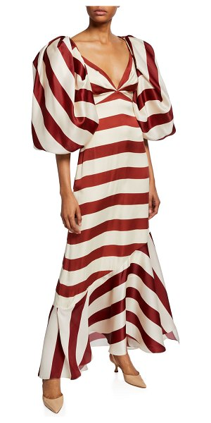 Johanna Ortiz Strappy Convertible Wide-Striped Cocktail Dress in red/white
