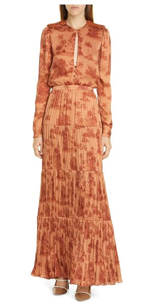 Johanna Ortiz toile palm print long sleeve georgette maxi dress in anis/ chili pepper