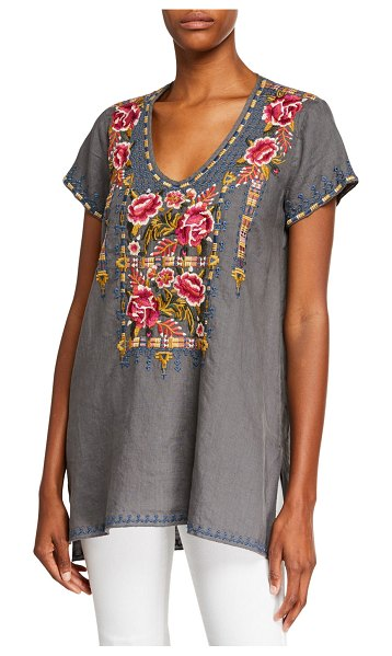 Johnny Was Axton Draped V-Neck Short-Sleeve Linen Top in voltage
