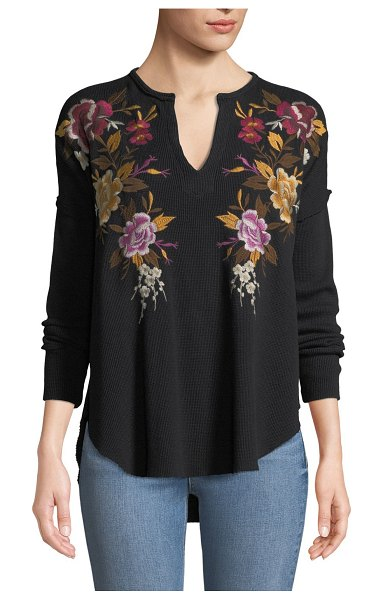 Johnny Was Zosia Floral-Embroidered Thermal Top in black