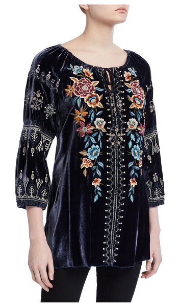 Johnny Was Elani Embroidered Velvet Peasant Blouse in blue