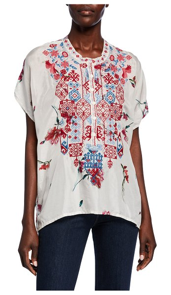 Johnny Was Idalina Printed Button-Front Short-Sleeve Embroidered Silk Top in multi