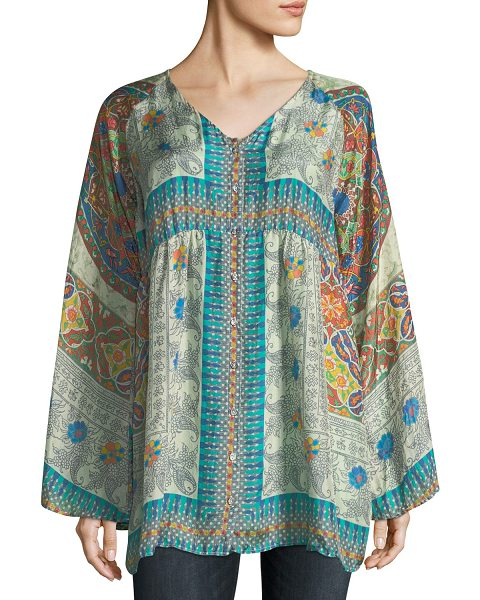 58539f300d7 Johnny Was Mocity Button-Front Printed Silk Georgette Tunic | Shopstasy
