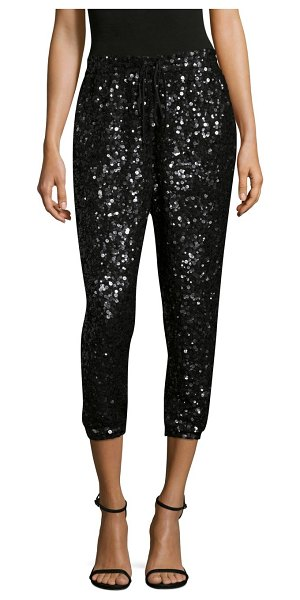 Joie aife sequin jogger pants in caviar - Sequin embellished jogger pants in cropped silhouette....
