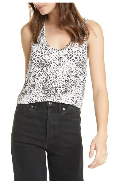 Joie alicia mixed animal print racerback tank in porcelain