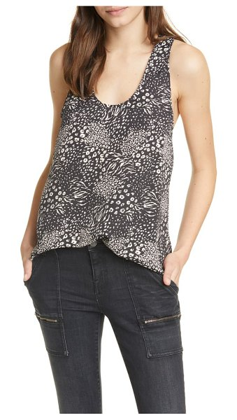 Joie alicia mixed animal print racerback tank in caviar