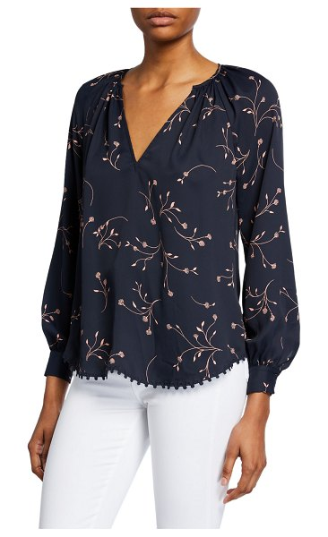 Joie Allea Floral V-Neck Long-Sleeve Top in midnight