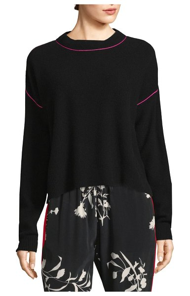 Joie benin contrast tipped sweater in caviar flamenco