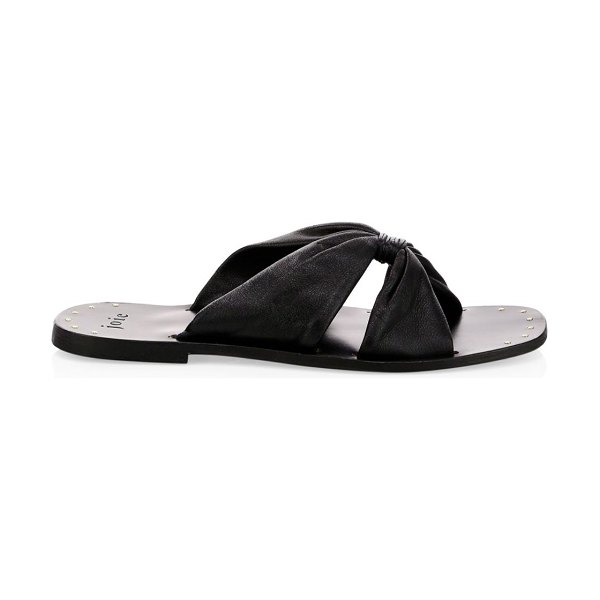 Joie Bentia Knotted Leather Slide Sandals in black