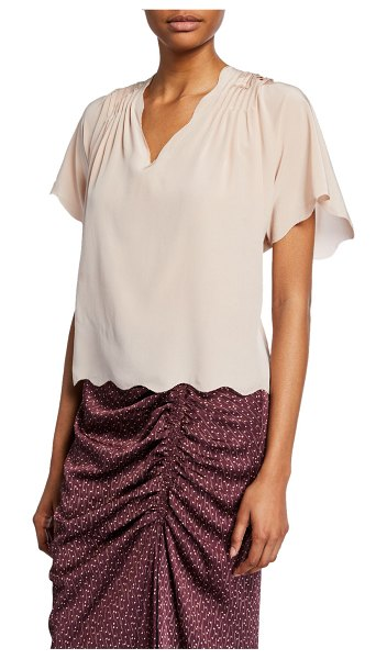 Joie Binna Scalloped Short-Sleeve Top in pink sky