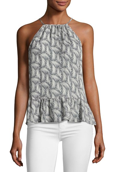 "JOIE Faustine Feather High-Neck Tank Top - EXCLUSIVELY AT NEIMAN MARCUS Joie ""Faustine"" silk tank with..."