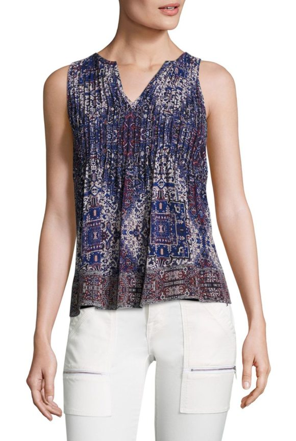 Joie gretel tile-print silk blouse in caviar - EXCLUSIVELY AT SAKS FIFTH AVENUE. Pleated silk top with...