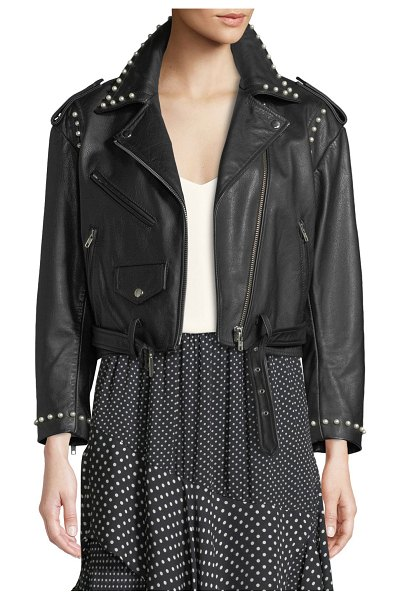 "Joie Humla Zip-Front Pearlescent-Stud Moto Lamb Leather Jacket in black - Joie ""Humla"" jacket in lamb leather with..."