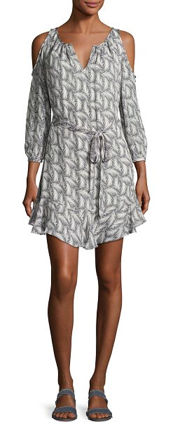 "Joie Isaline Feather Cold-Shoulder Dress in gray - EXCLUSIVELY AT NEIMAN MARCUS Joie ""Isaline"" silk dress..."