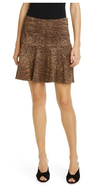 Joie jamey snake print ruffle hem stretch cotton skirt in mustang