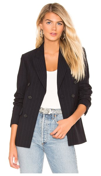 Joie Markina Blazer in navy - Self: 68% poly 28% viscose 4% spandexLining: 94% poly 6%...
