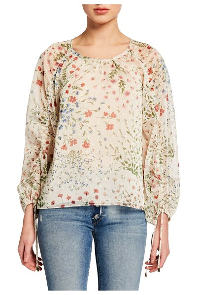 Joie Neema Ruched-Sleeve Floral-Print Top in aged white
