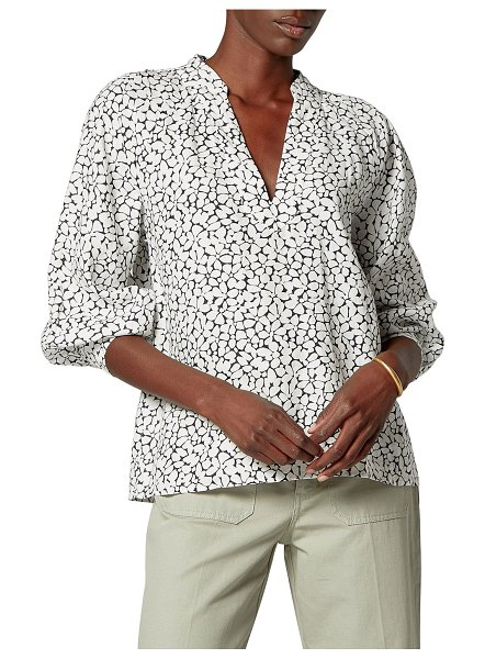 Joie Perci Printed Linen Puff-Sleeve Top in porcelain
