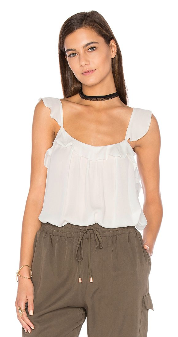 JOIE Petal Ruffle Cami - 100% silk. Dry clean only. Adjustable shoulder straps....