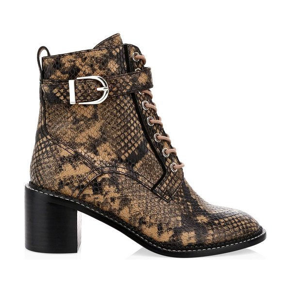 Joie raster python-embossed leather combat boots in camel