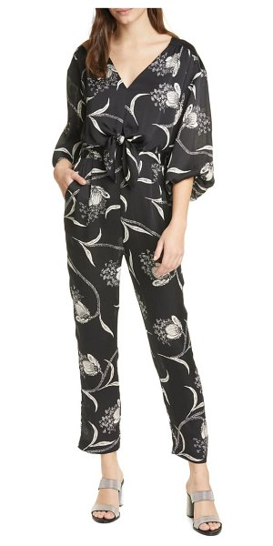 Joie shaila floral balloon sleeve jumpsuit in caviar