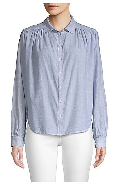 Joie tandice button-front shirt in collegiate - Relaxed button-down with a gathered finish. Spread...