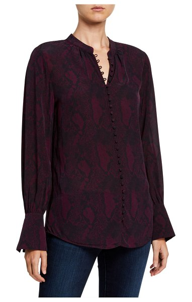 Joie Tariana Printed Button-Down Top in plum