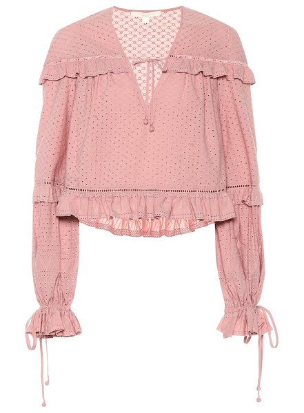 JONATHAN SIMKHAI broderie anglaise cotton blouse in pink