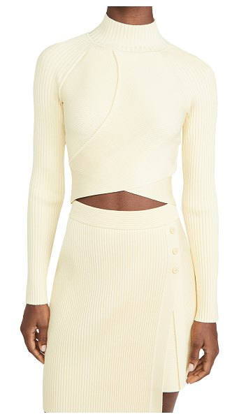 JONATHAN SIMKHAI camila compact cut out long sleeve top in pale yellow