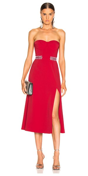 JONATHAN SIMKHAI Chain Bustier Slit Dress in red - Self: 59% rayon 38% acetate 3% spandex - Lining 1: 100%...
