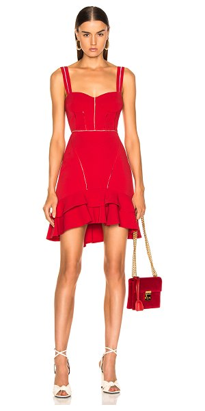 JONATHAN SIMKHAI Crepe Combo Mini Ruffle Dress in red - Self: 59% rayon 38% acetate 3% elastan - Lining: 100%...