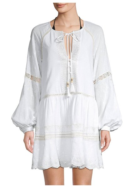 JONATHAN SIMKHAI Embroidered Cotton Peasant Dress in white