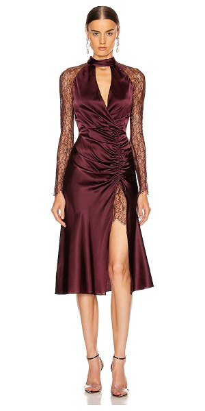 JONATHAN SIMKHAI lace ruched front keyhole dress in sienna & antique rose