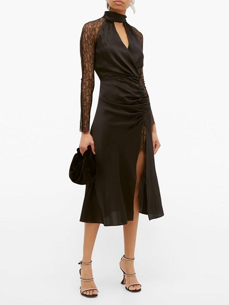 JONATHAN SIMKHAI lace sleeve ruched front silk blend dress in black