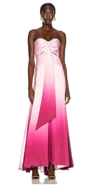 JONATHAN SIMKHAI ombre cutout bustier gown in magenta ombre