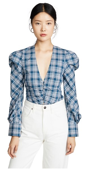 JONATHAN SIMKHAI oxford ruched front shirt in teal plaid
