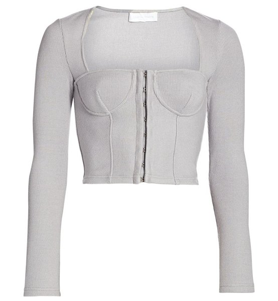 JONATHAN SIMKHAI STANDARD bustier ribbed knit top in fog