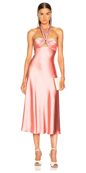 JONATHAN SIMKHAI Structured Sateen Halter Slip Dress in pink - Poly blend.  Made in China.  Dry clean only.  Fully...