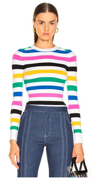 JoosTricot Crew Neck Sweater in blue,pink,stripes,white - 56% cotton 20% spandex 16% nylon 8% silk.  Made in...