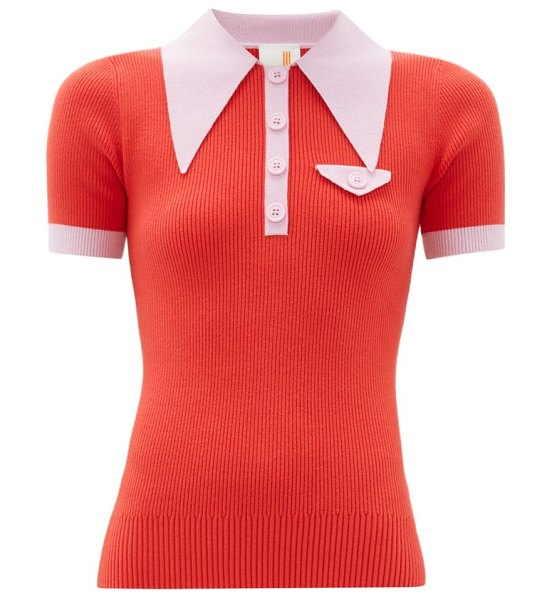 JoosTricot exaggerated point collar cotton blend polo shirt in red