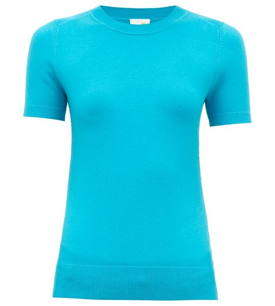 JoosTricot peachskin cotton-blend short-sleeve sweater in blue