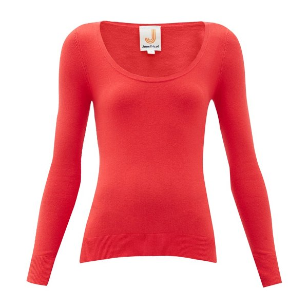 JoosTricot peachskin scoop neck cotton blend sweater in red