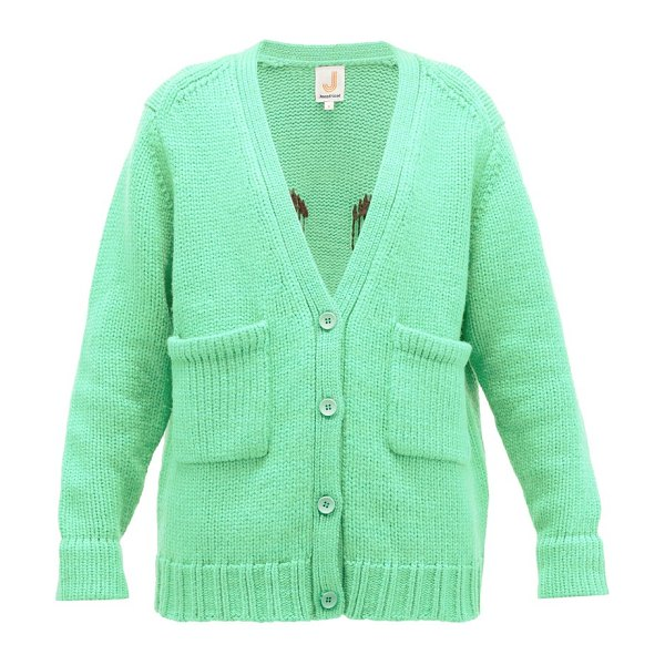 JoosTricot smiley-embroidered wool-blend cardigan in light green